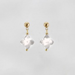 Clover Earrings with White Mother Of Pearl, Gold Plated Metal, CHORANGE French Designer Fashion Jewelry in France.