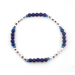 Elastic Bracelet Pearls of precious stones,  Silver Plated Metal, CHORANGE French Designer Fashion Jewelry in Cannes. c