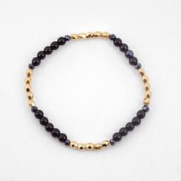 Bracelet élastique, onyx, doré or 24 cts, Sans Nickel. Fabriquées en France. Chorange Créateur Bijoux Fantaisie.