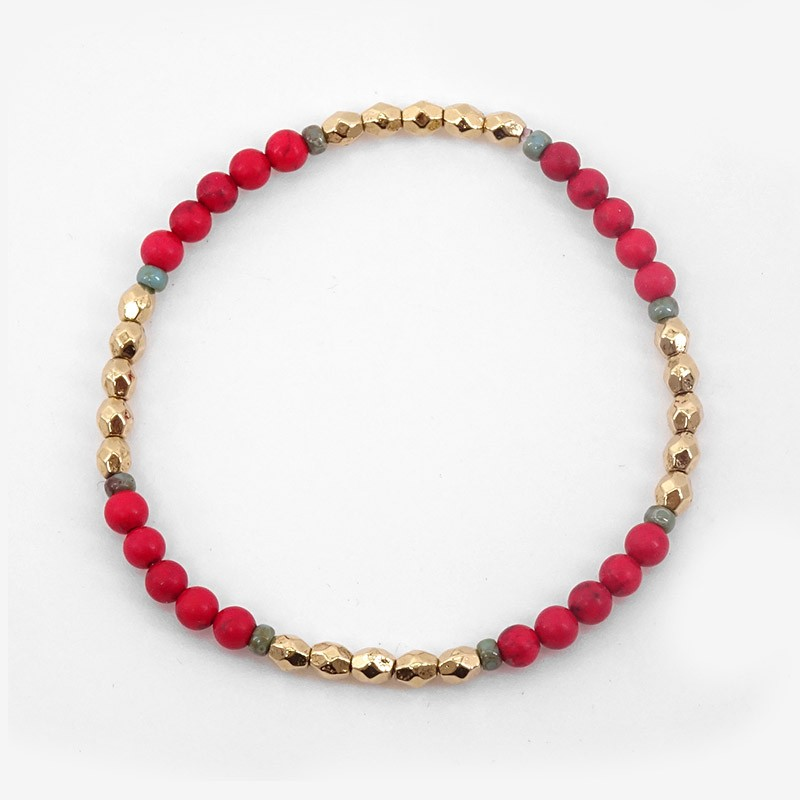 Elastic Bracelet Pearls of precious stones,  Gold Plated Metal, CHORANGE French Designer Fashion Jewelry in Cannes.