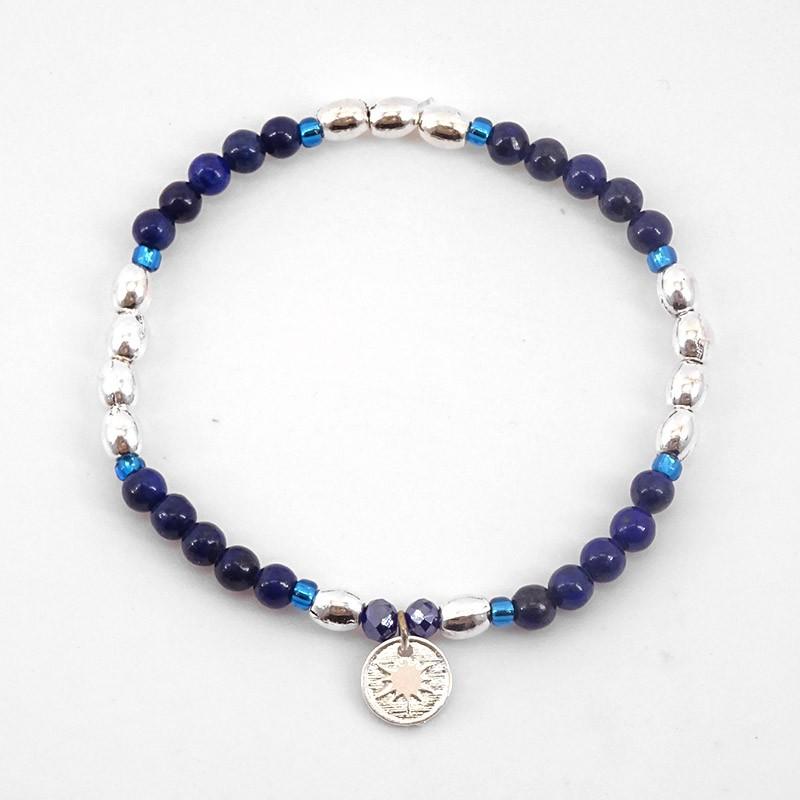 Bracelet élastique, lapis-lazuli, argent 10µ, Sans Nickel. Fabriquées en France . Chorange Créateur Bijoux Fantaisie.